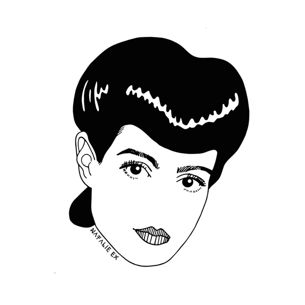 Line art style portrait drawing of Rachael the Replicant from Blade Runner