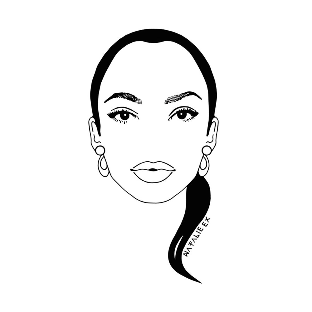 Line art style portrait of Sade by Melbourne artist, Natalie Ex