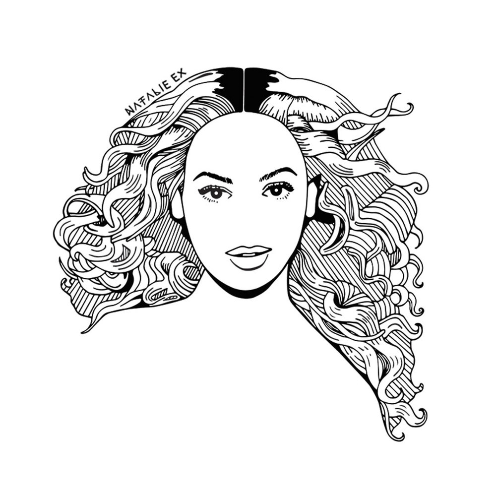 Line art style portrait drawing of Beyonce by Natalie Ex
