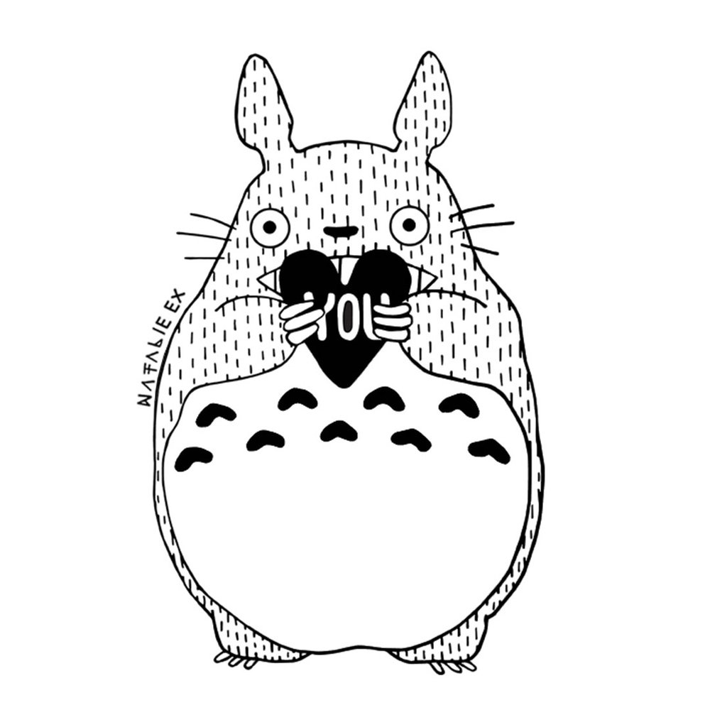 Line art drawing of Totoro holding a heart by Natalie Ex