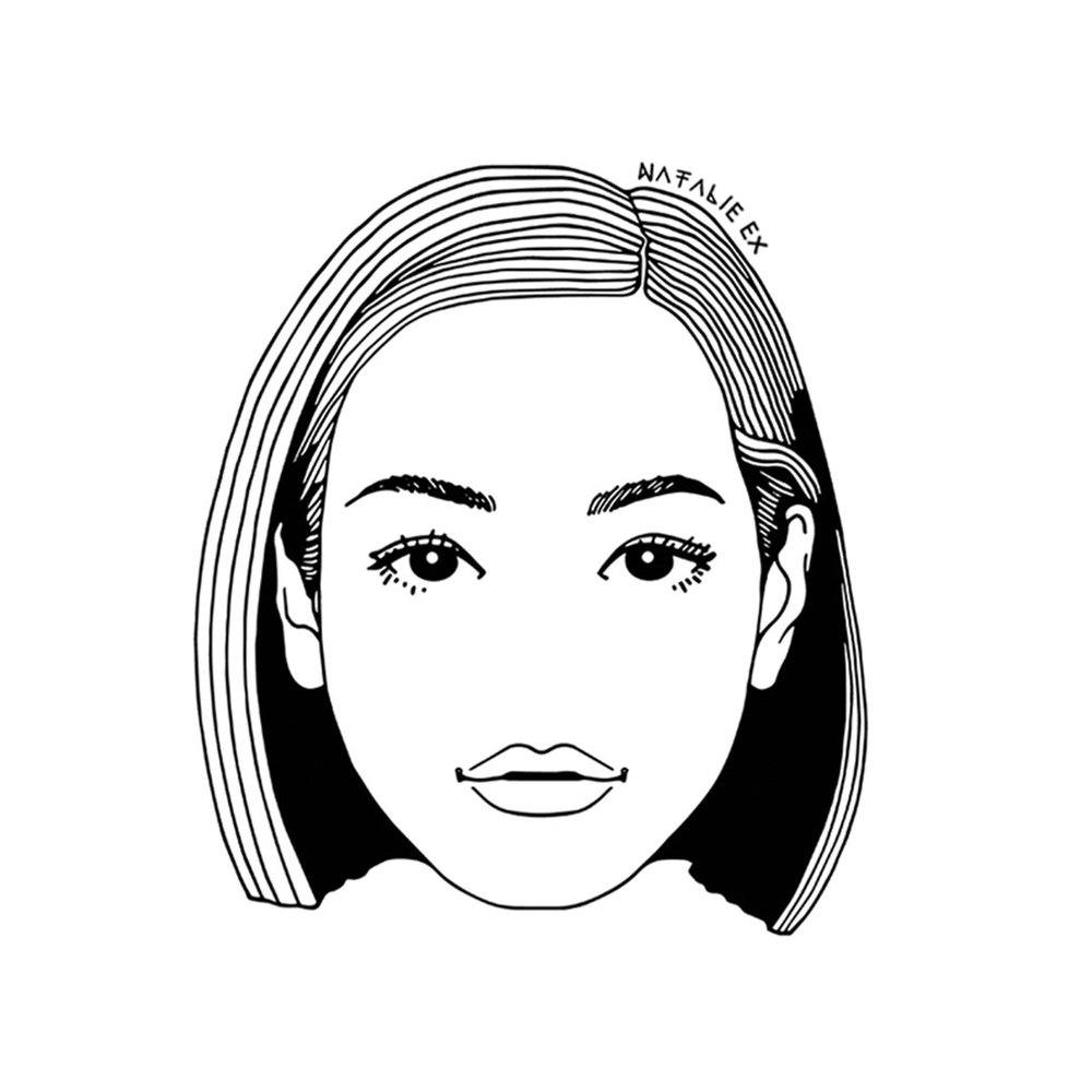 Line art portrait illustration of Kiko Mizuhara by Natalie Ex