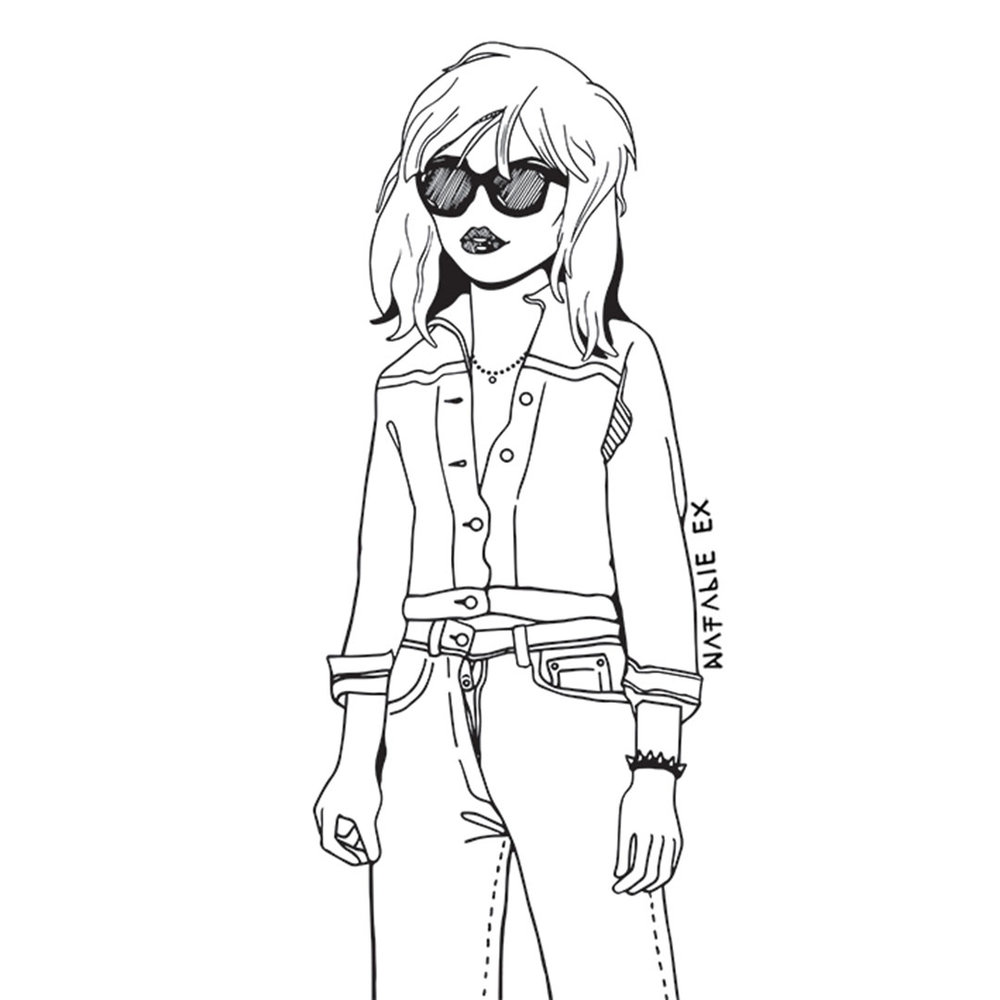 Line drawing portrait of Debbie Harry from Blondie by Natalie Ex