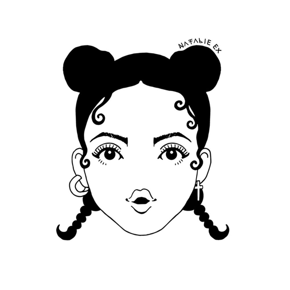 Line drawing style portrait of FKA Twigs by Melbourne Artist, Natalie Ex