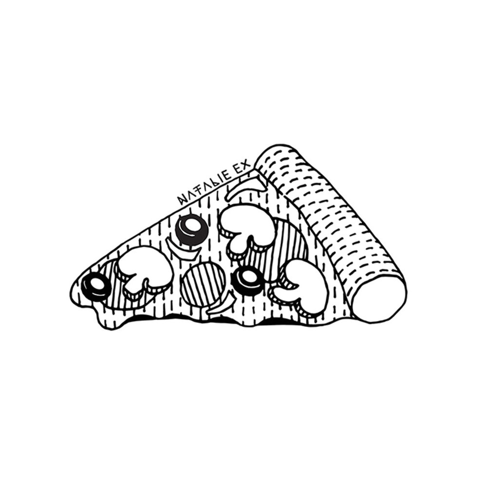 A line art drawing of a yummy slice of pizza by Natalie Ex