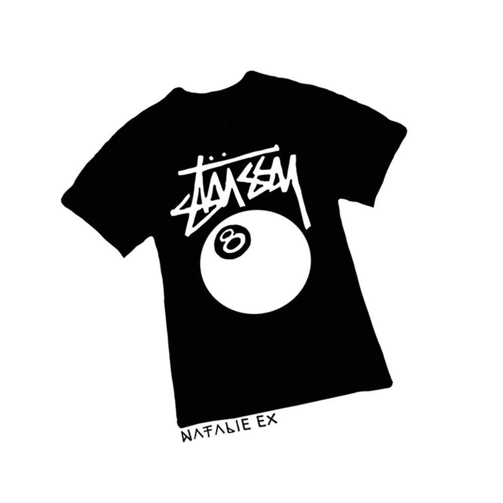 Line drawing style illustration of the ultimate 90s t-shirt - the Stussy 8-ball Tee