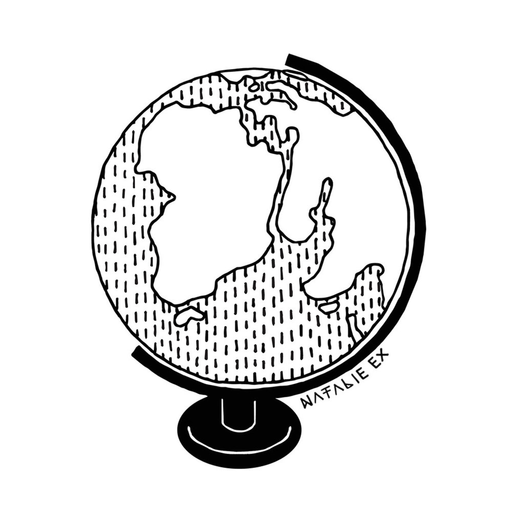 Line art style illustration of a world globe by Natalie Ex