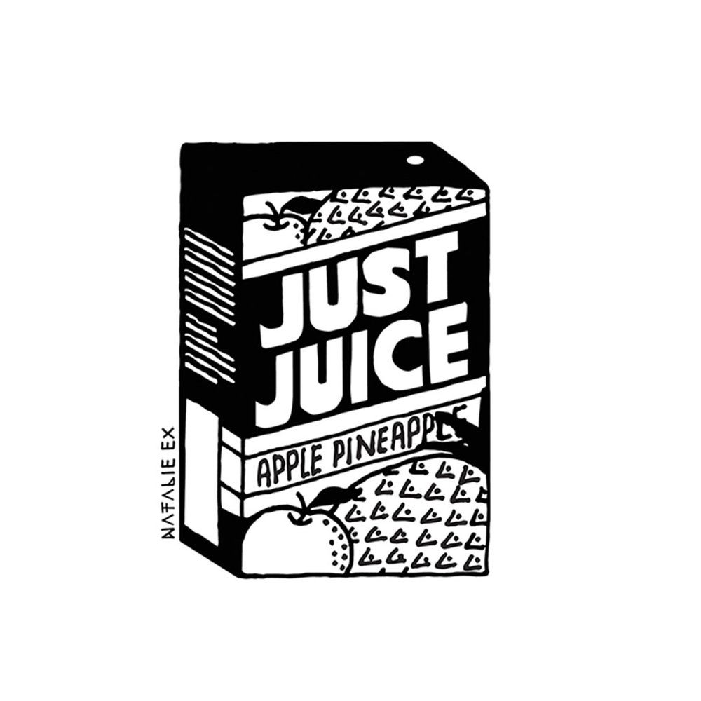 Line art style drawing of box of Just Juice
