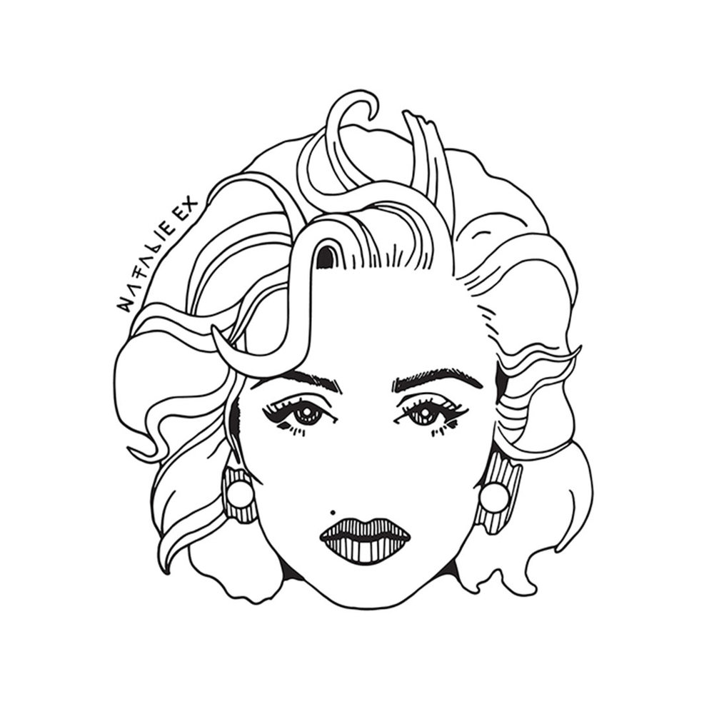 Line art style portrait illustration of Madonna