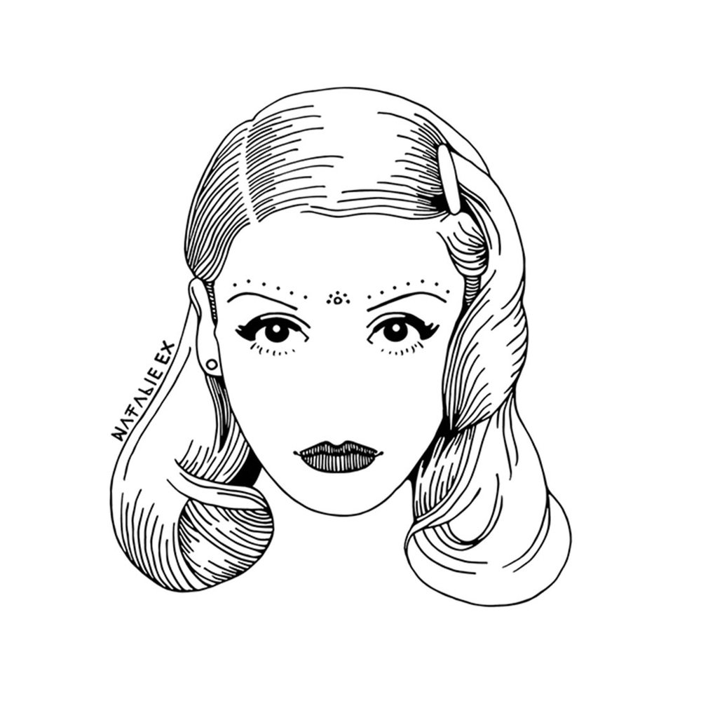 Line art style drawing of Gwen Stefani from No Doubt