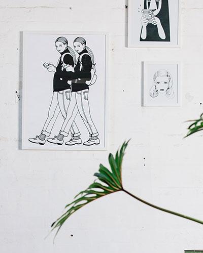 From left to right: 50cm x 70cm framed art, A3 framed art and A4 framed art