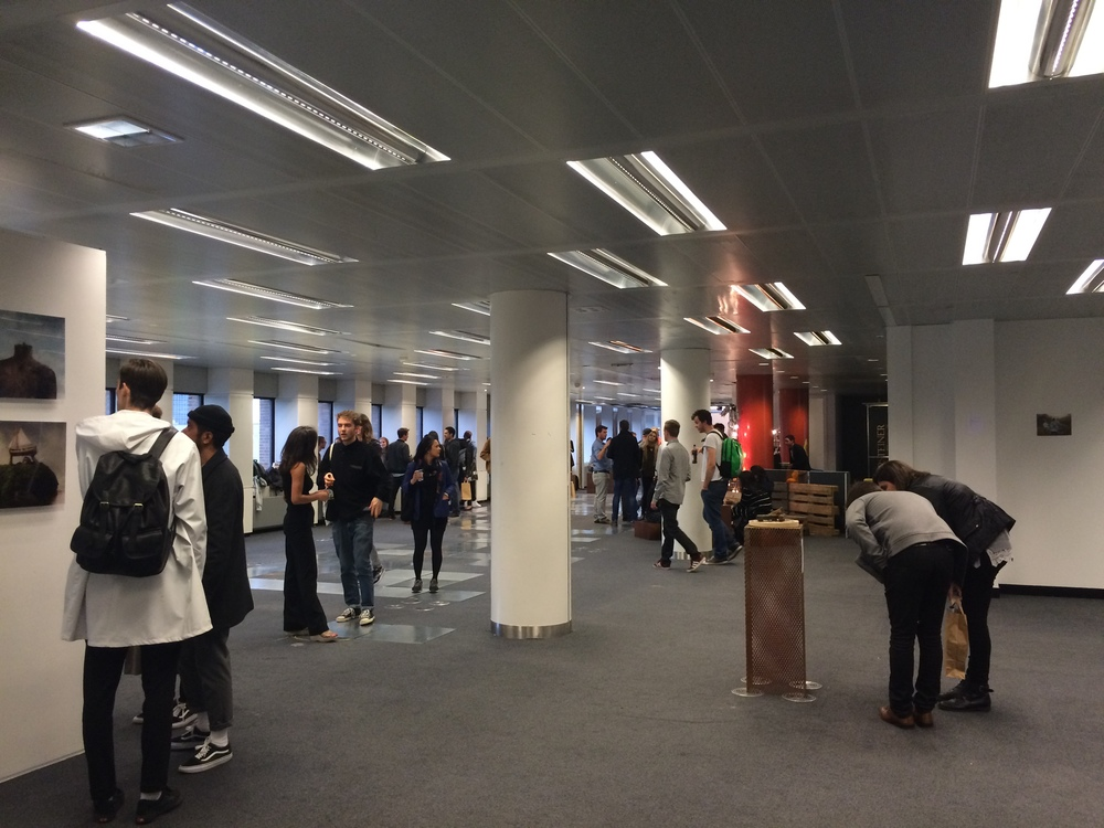 The opening of the No Man's Art Gallery pop-up show in the old ABN AMRO offices in Rotterdam