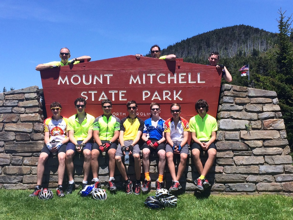 The crew enjoys a break while riding to the highest point east of the Mississippi.