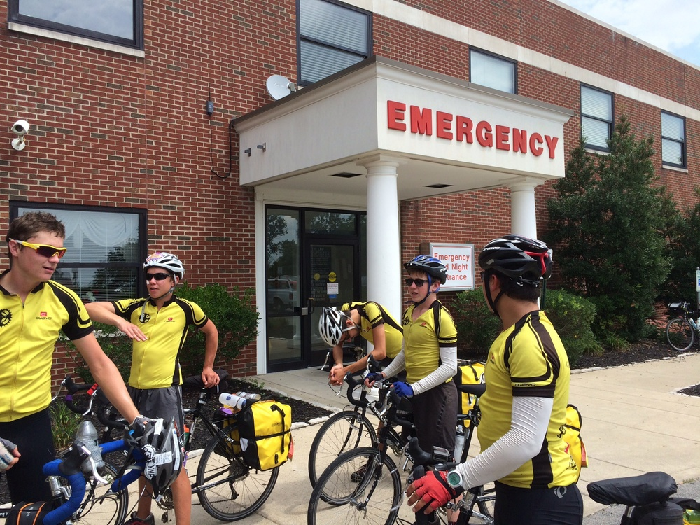 An unscheduled stop at the ER. Nothing too serious, moms. That's the patient riding in, second to the left.