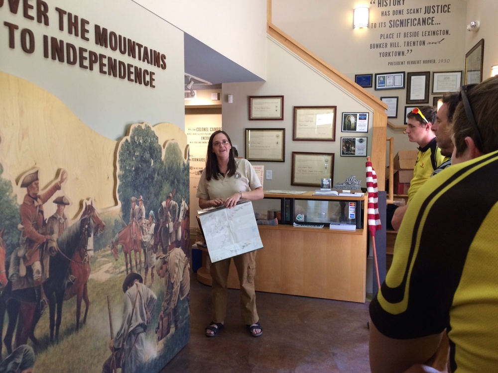 The crew gets a history lesson at the Muster Grounds.