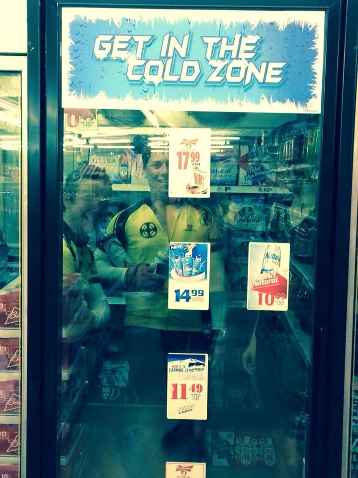 When it's hot, take your break inside the C store beer cooler. There's always a solution...