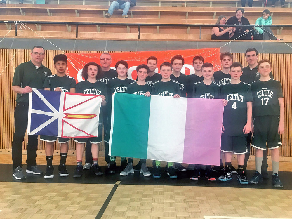 The Celtic under-14 boys team finished a big season with a second place finish at the Junior NBA World Championship Qualifiers in Halifax. Team members include, starting in the back row, from left: Assistant Coach Colin Pennell, Mark Tobin, Evan Kennedy, Mark Torraville, Gabe Trickett and Assistant Coach Cameron Tobin; and front row, from left: Wally Tobin, Joneley Solivan, Tanner Hawkins, Kalan Noonan, Jack Sullivan, Cameron Pennell, Jayden St. Croix, Brady O'Neill and Nathan Marshall.