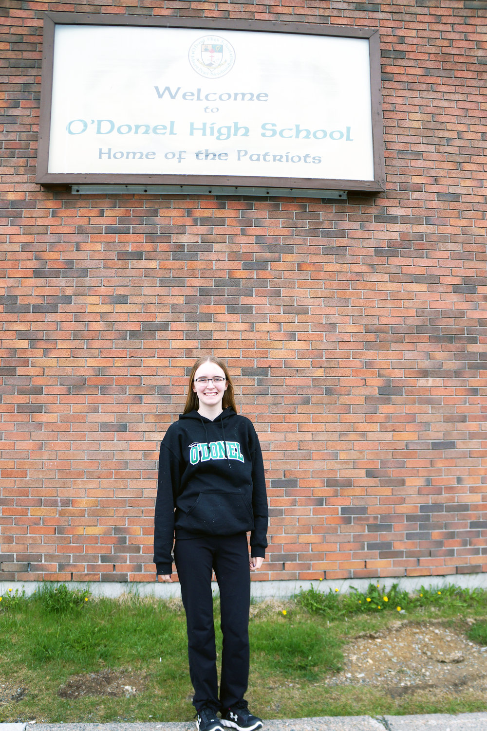 Emily Garlie outside her soon to be Alma Mater.