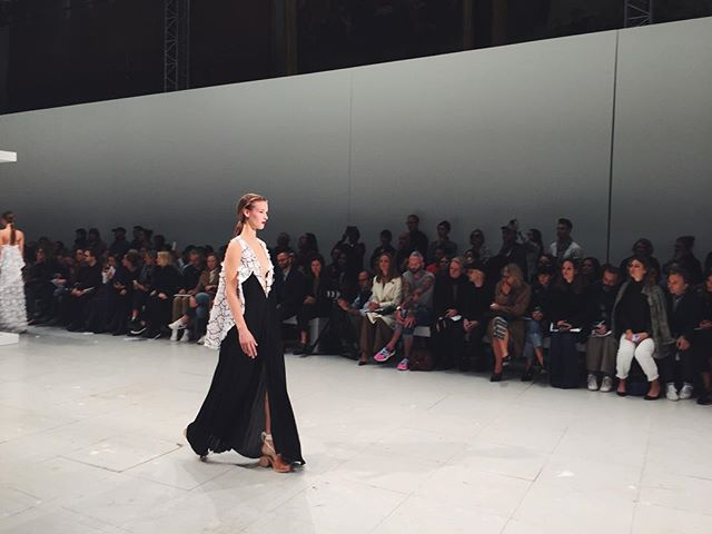 Pleated chiffon #Chalayan dress covered in artisanal #Swarovski embroidery. #chalayanss16 #pfw #ss16 @chalayanstudio