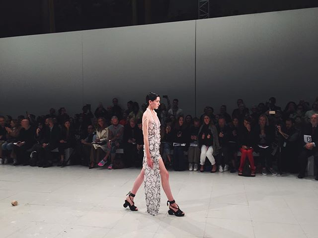 A deconstructed #swarovski #Chalayan dress after the rain. @chalayanstudio @swarovski #pfw #ss16