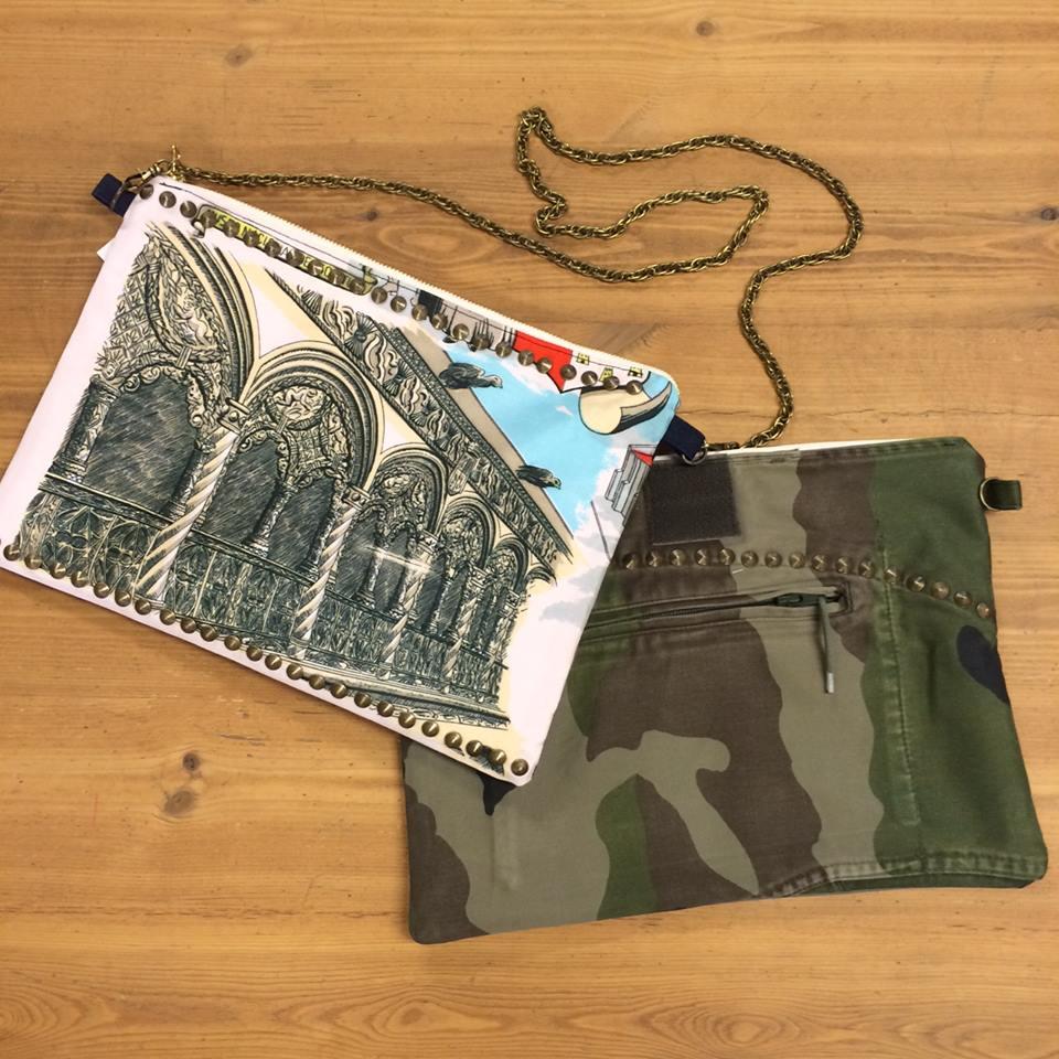 A&Sinc NOJESSさまコラボ商品2段  80年代ヨーロッパミリタリージャケット・スーベニアスカーフをリメイクした2WAYクラッチバッグ