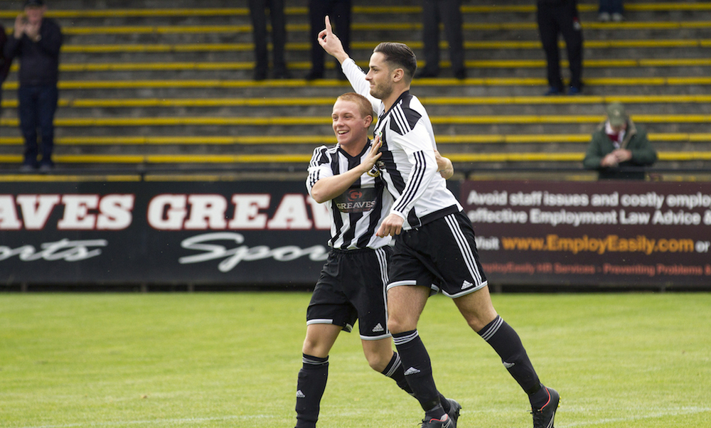 Allan MacKenzie celebrates as he nets after less than 30 seconds in a 2-0 win over Petershill.