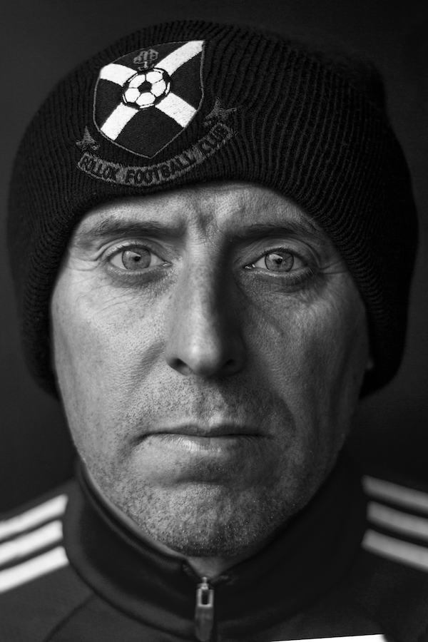 Portrait of Manager, Tony McInally. Taken before Central League Cup match against Rossvale, Lok winch match 2-0.