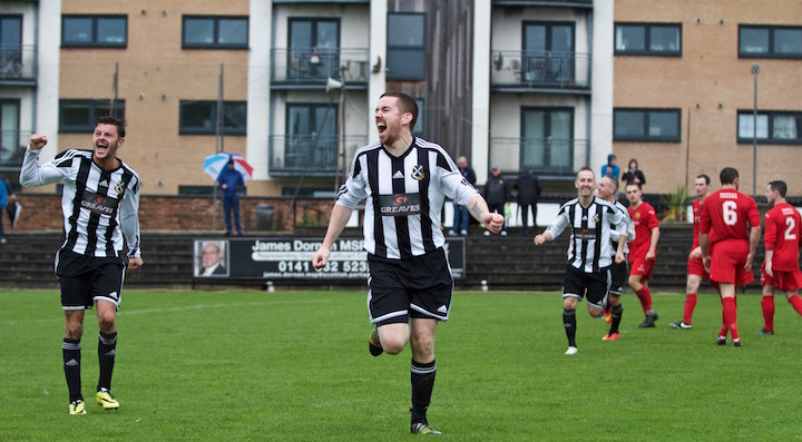 John Sweeney completes his hat-trick in a 4-1 victory over Beith Juniors