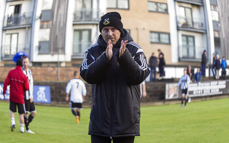 Tony McInally applauds the fans before Scottish Junior Cup tie against Yoker Athletic.