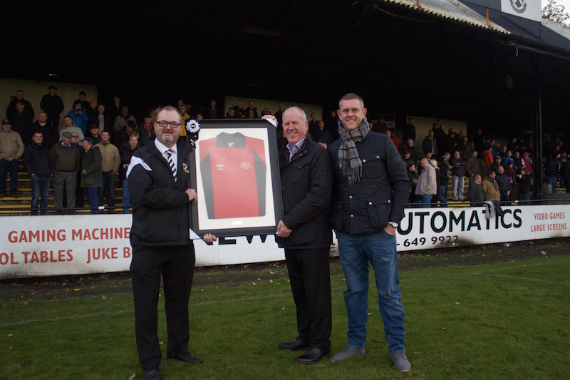 Lok Goalkeeping Legend, Brian Crombie donates his 1981 Scottish Junior Cup Final shirt to the club. Presented to Club President, Stuart MacDonald.
