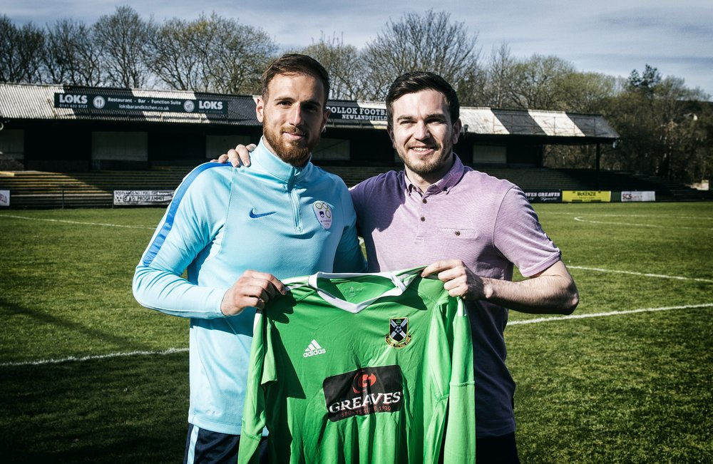 Jordan (R) pictured with Atletico Madrid and Slovenia goalkeeper Jan Oblak during his visit to Newlandsfield last month.