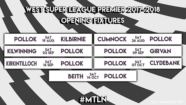 📆 Here are your opening 7 fixtures for the 2017-18 league season!! #MTLN 🏁🏁 #FixturesDay