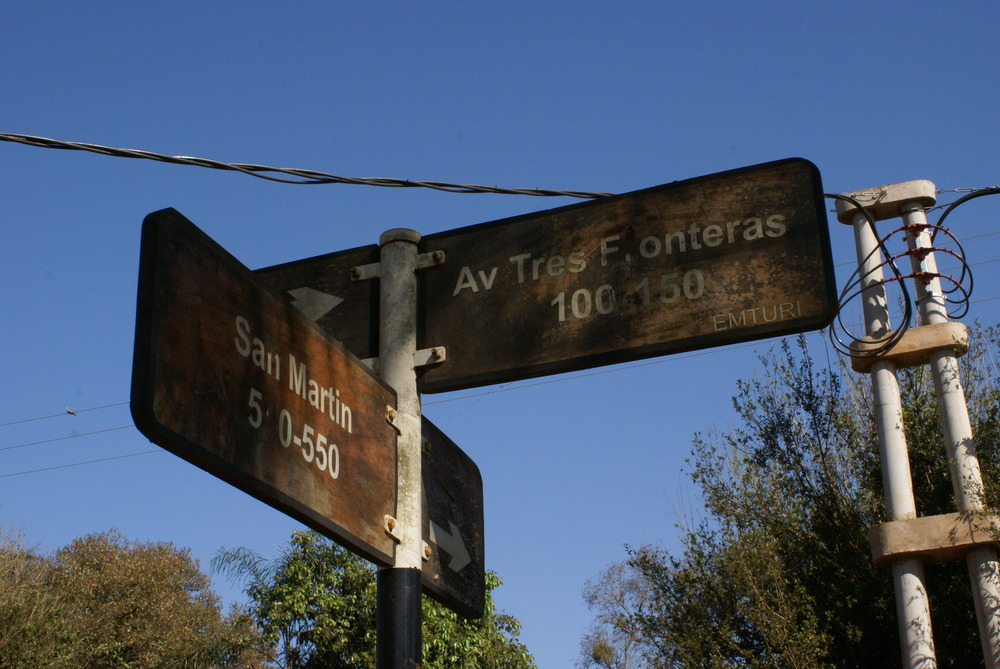 Street sign of Tres Fronteras Avenue in Puerto Iguazú.