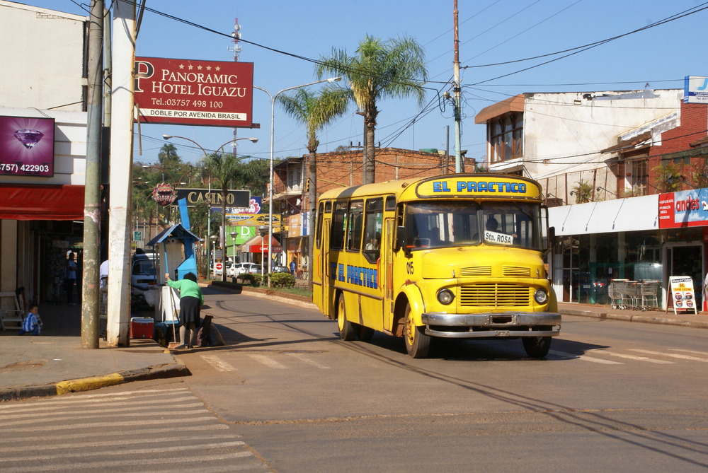 "Public bus, ""colectivo,"" on Victoria Aguirre Avenue in the commercial center of Iguazú."