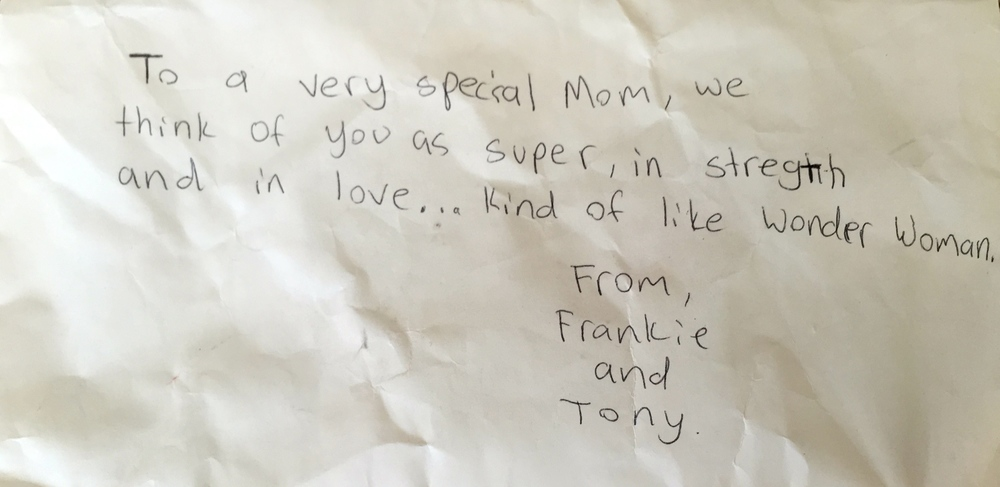 This was the message on an envelope containing my very own Wonder Woman action figure by my kids when I completed yoga teacher training.