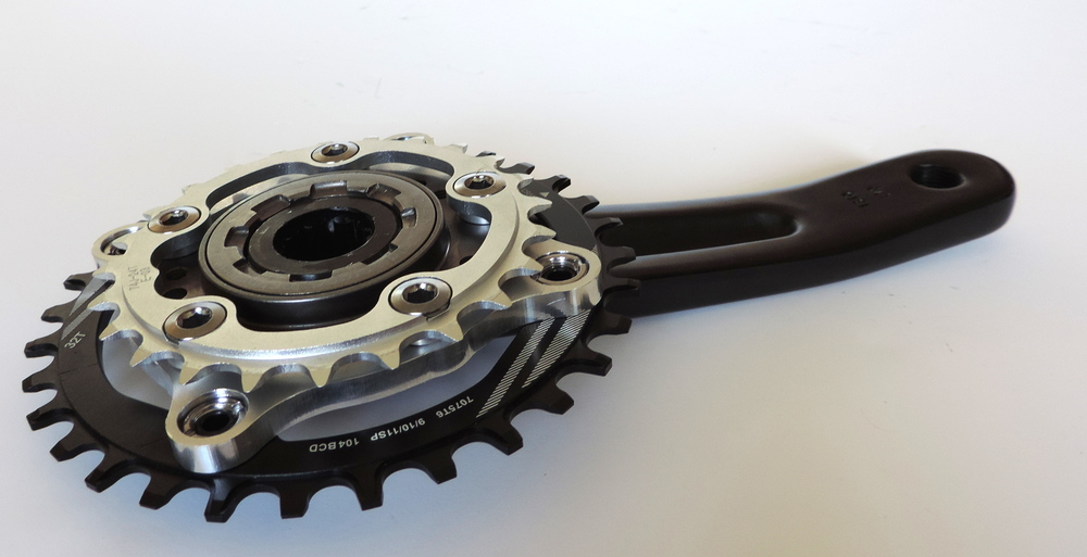 Modified freewheel to accept 5x74mm BCD chainrings for the motor chain, 4x104mm for the bike.