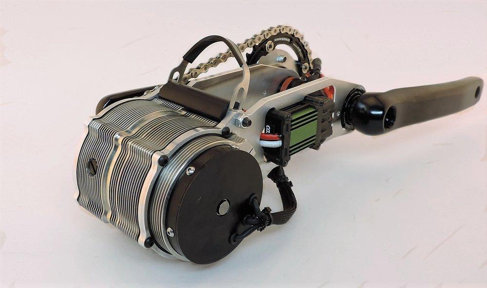 3kW, 7lbs, 165 crank RPM, 160ft-lbs torque at the crankset (calculated,60A battery current, 52V)