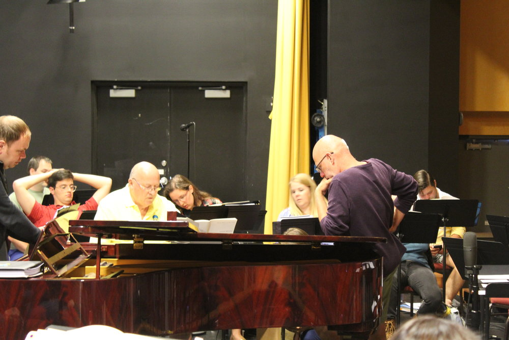"Gavin Bryars joins the Vocal Fellows at the keyboard to rehearse his ""On Photography"""