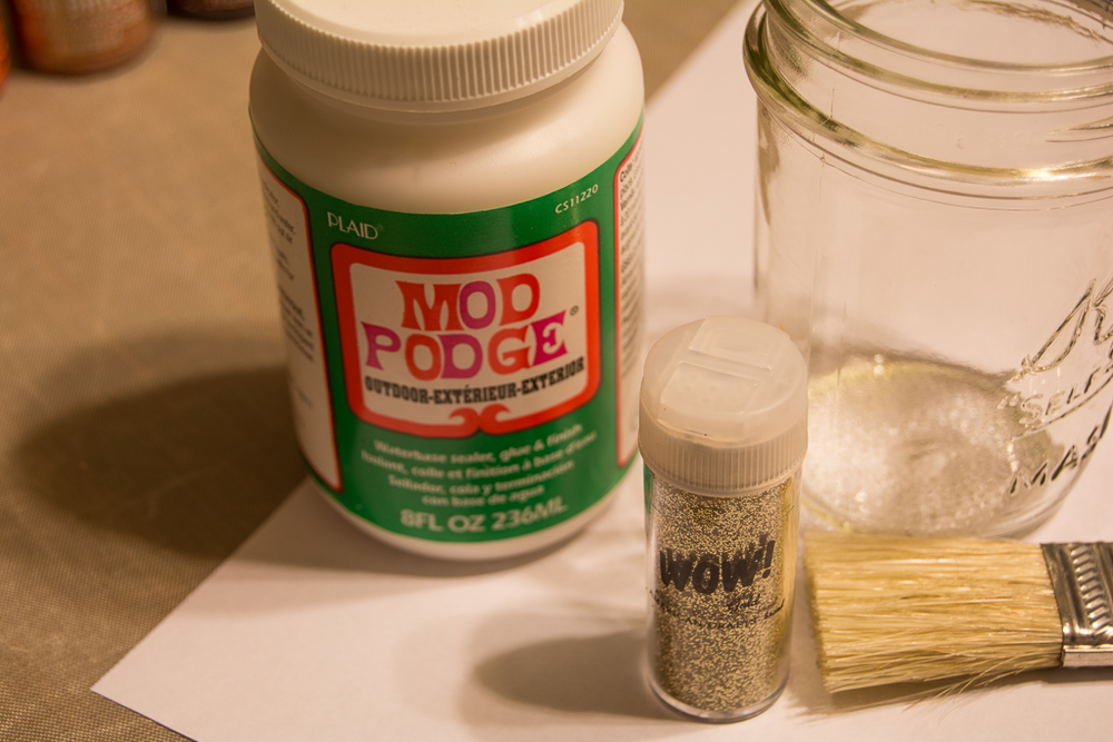 Outdoor Mod Podge, Wow glitter, a jar or piece of glass and a brush.   Jar was cleaned with rubbing alcohol first.