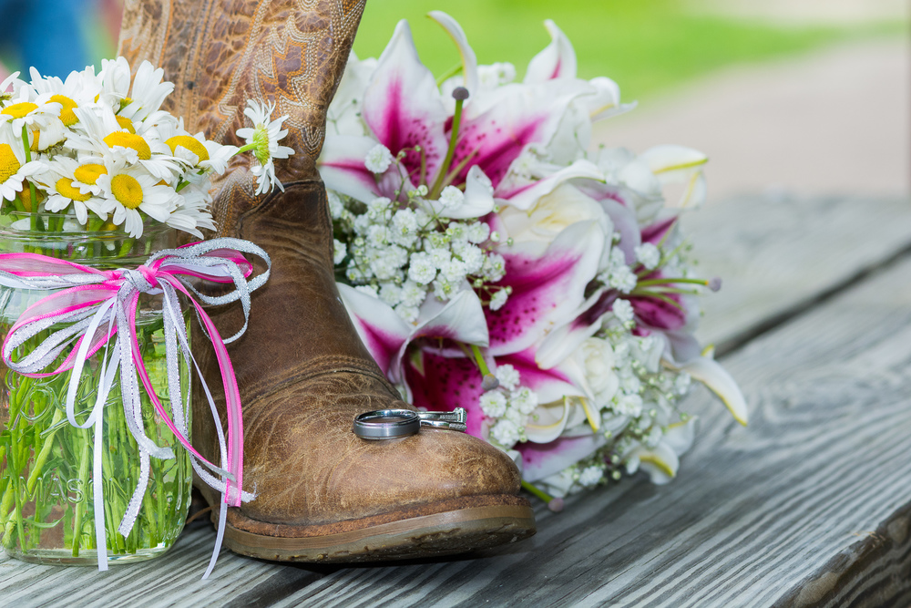 Country boot and gorgeous flowers