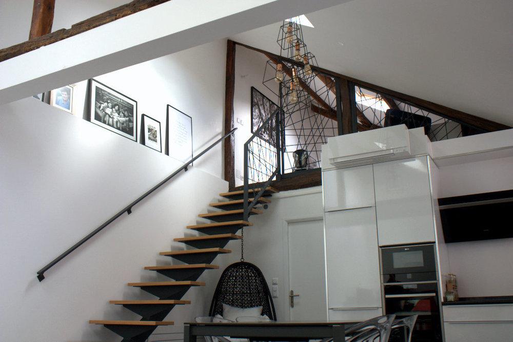 Escalier, garde corps et main courante acier