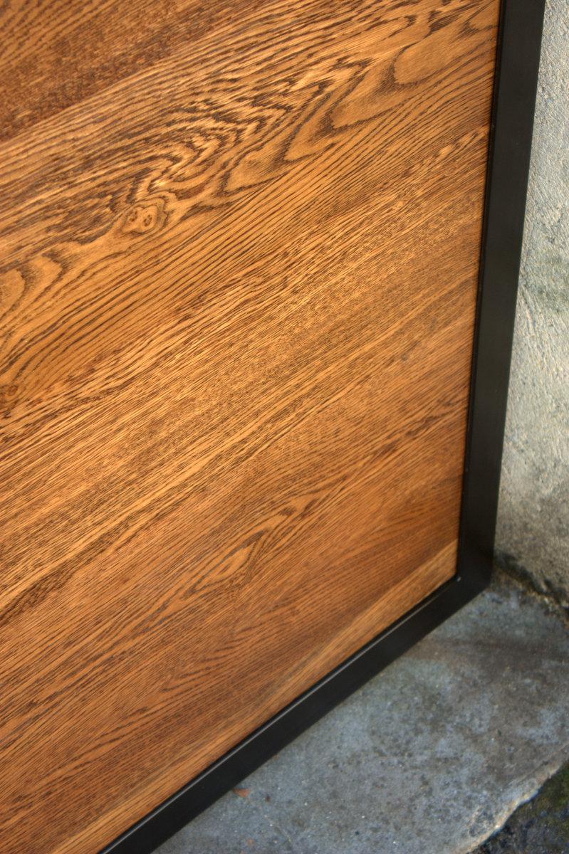 Porte chêne et acier - détails