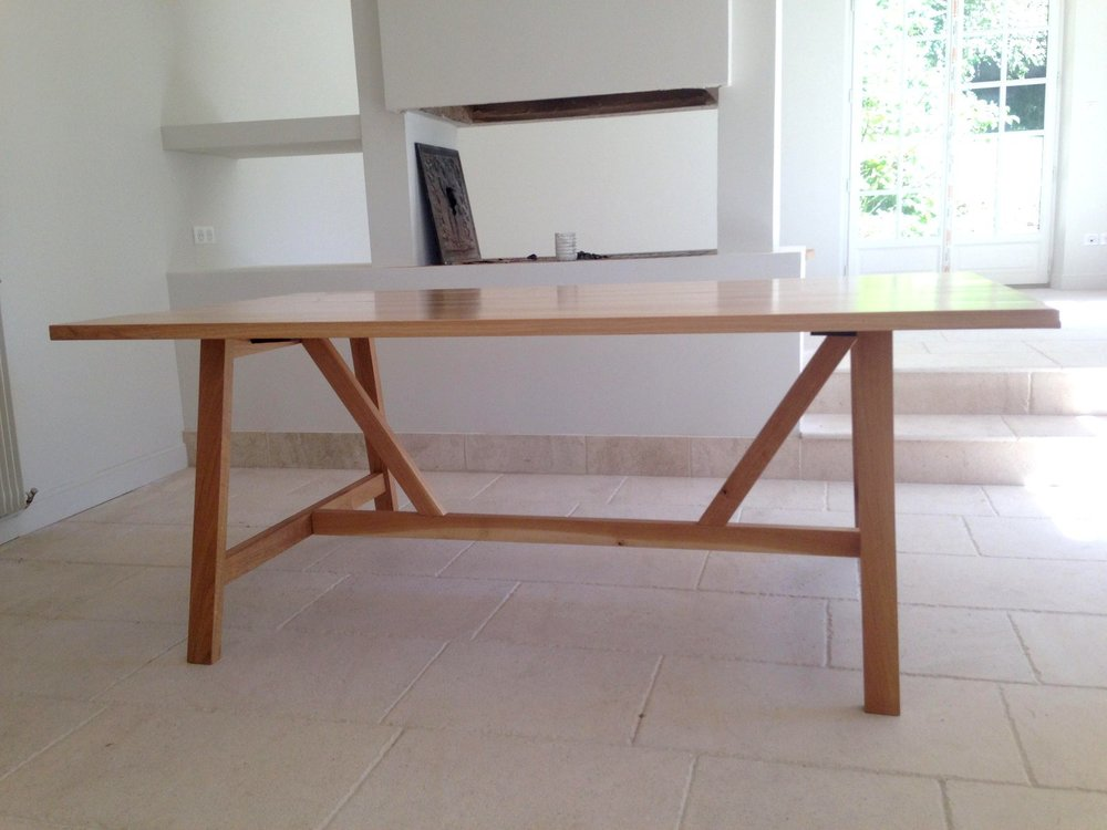 Table double plateau - Châssis tenon mortaise