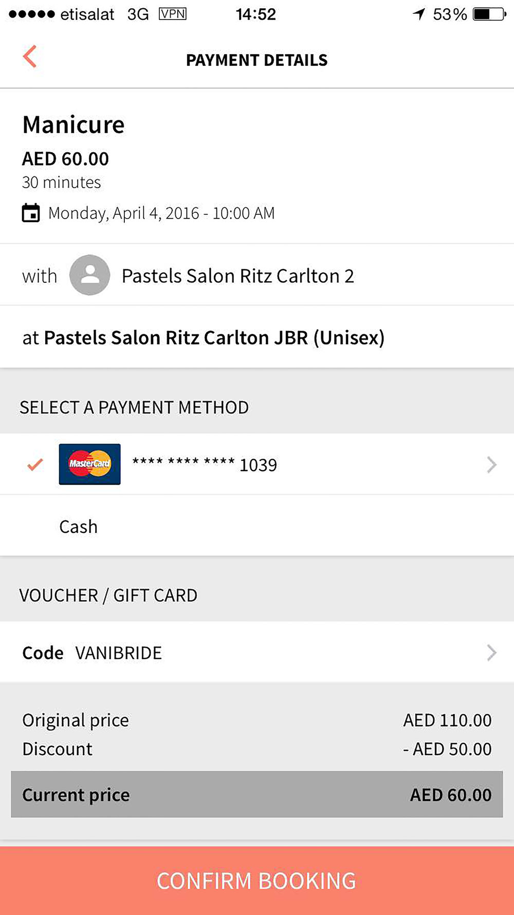 Select payment method (online or cash) - Et Voila!