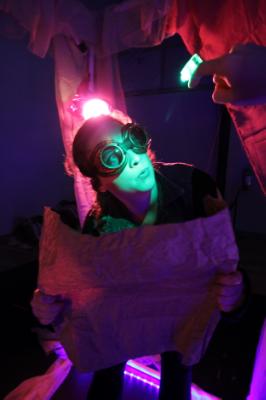 Briana Bower in  Fireflies  workshop, ZACH Theatre, 2015.