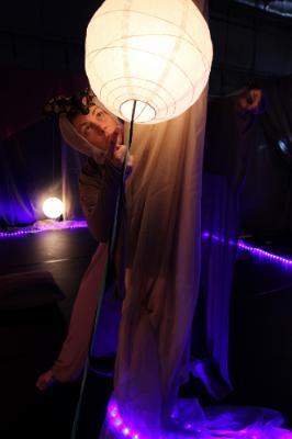 Katy Taylor in  Fireflies  workshop, ZACH Theatre, 2015.