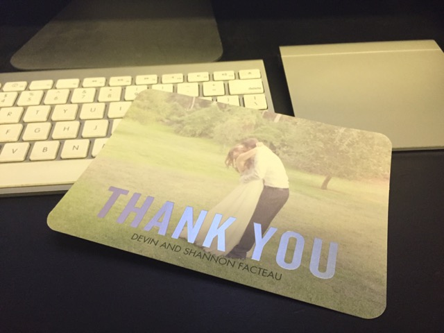 A thank you card I received with a photo I shot...
