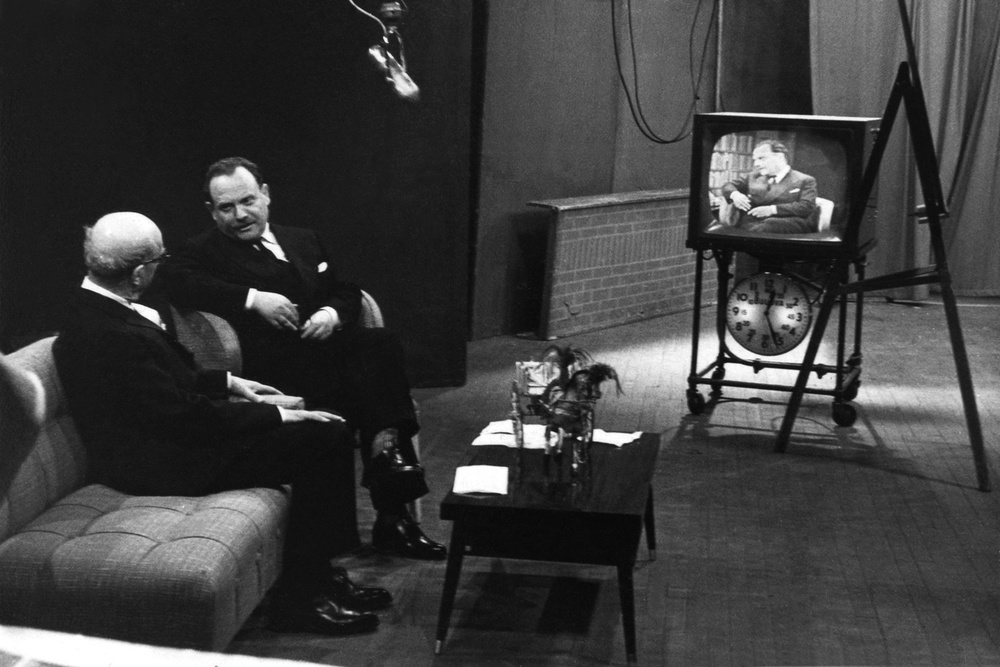 President of Sicilian Region Giuseppe Alessi interviewed on TV, 1957