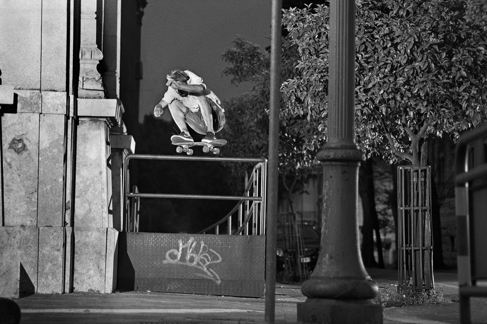 "Daniel ""Snowy"" Kinloch ollie with filmer board during Nike SB UK Sicily Tour, 2011"