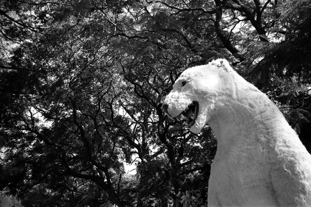 A fake polar bear as tourist attraction in front of the Bosque de Chapultepec (Mexico DF),December 2012