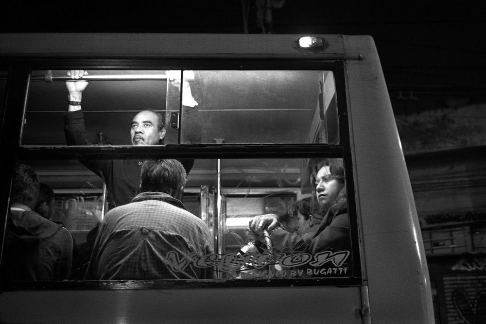 "Mexican bus informally called ""pecero"" which means ""fish tank"" because they are often loaded with too many people, December 2012"